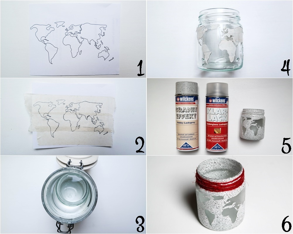 DIY WIndlicht, DIY Teelicht, Windlicht mit Weltkartenmotiv, DIY Upcycling, DIY Marmeladenglas, Weltkarte, DIY Herbst, Vara-Kreativa