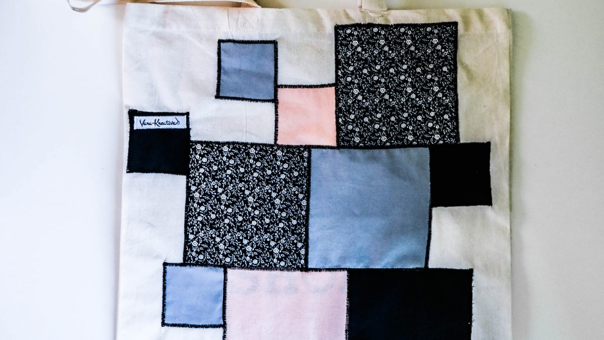 Stoffbeutel pimpen, Geometrie Trend, Upcycling, Taschen nähen, Nützliches, Vara-Kreativa